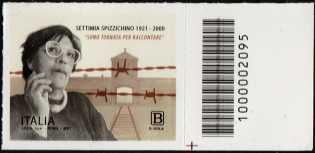 Centenario della nascita di Settimia Spizzichino - francobollo con codice a barre n° 2095 a DESTRA in basso
