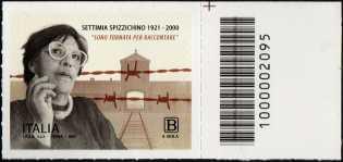 Centenario della nascita di Settimia Spizzichino - francobollo con codice a barre n° 2095 a DESTRA in alto