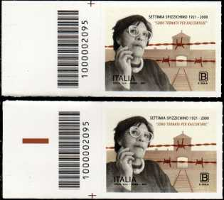 Centenario della nascita di Settimia Spizzichino - coppia di francobolli con codice a barre n° 2095 a SINISTRA alto-basso