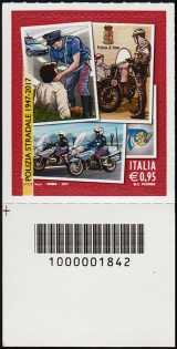 70° Anniversario della istituzione della Polizia Stradale - francobollo con codice a barre n° 1842