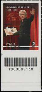 Giorgio Strehler  - Centenario della nascita - francobollo con codice a barre n° 2138 in BASSO a sinistra