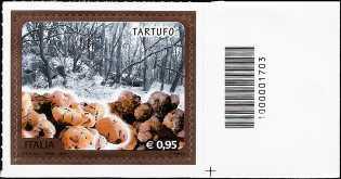 Eccellenze del sistema produttivo ed economico : Il tartufo - francobollo con codice a barre n° 1703