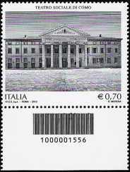 Italia 2013 - Bicentenario dell'inaugurazione del Teatro Sociale di Como  - codice a barre n° 1556