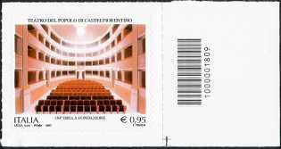 Teatro del Popolo di Castelfiorentino - 150° della fondazione - francobollo con codice a barre n° 1809