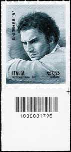 40° Anniversario della morte di Luigi Tenco - francobollo con codice a barre n° 1793