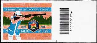 90° Anniversario della fondazione della Federazione Italiana Tiro a Volo - francobollo con codice a barre n° 1754