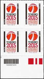 Torino Capitale europea dello sport - quartina con codice a barre n° 1635