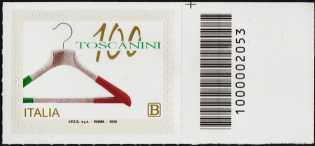 Industrie Toscanini S.r.l. - Centenario della fondazione - francobollo con codice a barre n° 2053 a DESTRA in alto