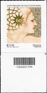60° Anniversario dei Trattati di Roma - francobollo con codice a barre n° 1799