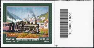Il trenino della Valgardena - francobollo con codice a barre n° 1826