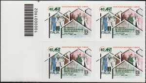 A.N.T. - Associazione Nazionale Tumori - 40° Anniversario della fondazione  - quartina con codice a barre n° 1902