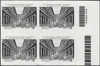 Gallerie degli Uffizi di Firenze - 250° Anniversario della apertura al pubblico - quartina con codice a barre n° 1938
