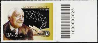 Giuseppe Ungaretti - 50° Anniversario della scomparsa - francobollo con codice a barre n° 2028 a DESTRA in basso