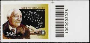 Giuseppe Ungaretti - 50° Anniversario della scomparsa - francobollo con codice a barre n° 2028 a DESTRA in alto