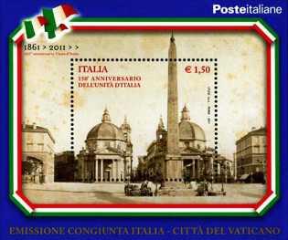 Italia 2011 - 150º anniversario dell'unità d'Italia - Emissione congiunta Italia - Vaticano