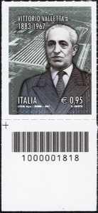 50° Anniversario della scomparsa di Vittorio Valletta - francobollo con codice a barre n° 1818