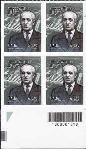 50° Anniversario della scomparsa di Vittorio Valletta - quartina con codice a barre n° 1818