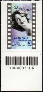 Alida Valli - Centenario della nascita - francobollo con codice a barre n° 2108 in BASSO a destra