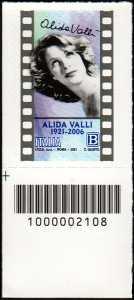 Alida Valli - Centenario della nascita - francobollo con codice a barre n° 2108 in BASSO a sinistra