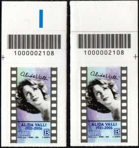 Alida Valli - Centenario della nascita - coppia di francobolli con codice a barre n° 2108 in ALTO destra-sinistra