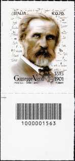 Italia 2013 - Bicentenario della nascita di Giuseppe Verdi - codice a barre n° 1563