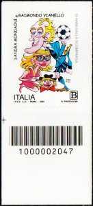 Sandra Mondaini e Raimondo Vianello - 10° Anniversario della scomparsa - francobollo con codice a barre n° 2047 in BASSO a sinistra