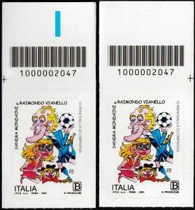 Sandra Mondaini e Raimondo Vianello - 10° Anniversario della scomparsa - coppia di francobolli con codice a barre n° 2047 in ALTO destra-sinistra