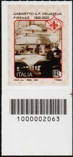 Gabinetto Scientifico Letterario G.P. Vieusseux - Firenze - Bicentenario della fondazione - francobollo con codice a barre n° 2063 in BASSO a destra