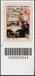 Gabinetto Scientifico Letterario G.P. Vieusseux - Firenze - Bicentenario della fondazione - francobollo con codice a barre n° 2063 in BASSO a sinistra