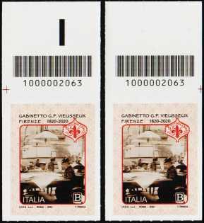 Gabinetto Scientifico Letterario G.P. Vieusseux - Firenze - Bicentenario della fondazione - coppia di francobolli con codice a barre n° 2063 in ALTO destra-sinistra