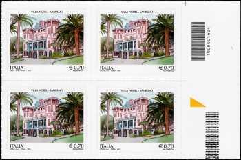 Patrimonio artistico e culturale  italiano :  Villa Nobel , Sanremo  - quartina con  codice a barre n° 1624