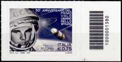 Italia 2011 - 50° anniversario del primo volo umano nello spazio - codice a barre n° 1380