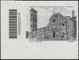 Basilica Cattedrale di Volterra - IX centenario della dedicazione a Santa Maria Assunta - francobollo con codice a barre n° 2019 a SINISTRA  in basso