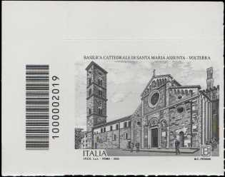 Basilica Cattedrale di Volterra - IX centenario della dedicazione a Santa Maria Assunta - francobollo con codice a barre n° 2019 a SINISTRA  in alto