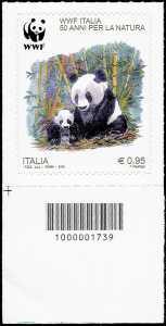 50° Anniversario della fondazione del WWF Italia - francobollo con codice a barre n° 1739