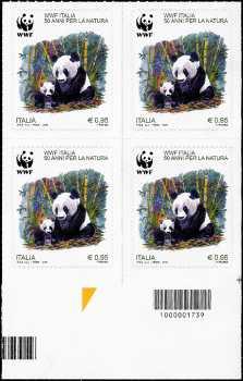 50° Anniversario della fondazione del WWF Italia - quartina  con codice a barre n° 1739