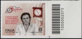 Associazione Amici di Onofrio Zappalà - francobollo con codice a barre n° 2075 a DESTRA in basso
