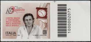 Associazione Amici di Onofrio Zappalà - francobollo con codice a barre n° 2075 a DESTRA in alto