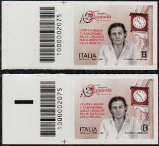 Associazione Amici di Onofrio Zappalà - coppia di francobolli con codice a barre n° 2075 a SINISTRA alto-basso